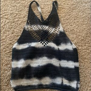 black and white knit crop top